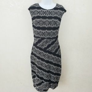 Dress Barn Collection Blk & White Lace Shift Dress